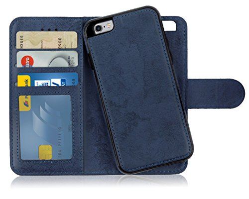 MyGadget Flip Case mit Back Cover [2 in 1] für Apple iPhone 6s / 6 - Magnetische Hülle in PU Leder Klapphülle - Kartenfach Schutzhülle Wallet - Blau (Blau Back Case)