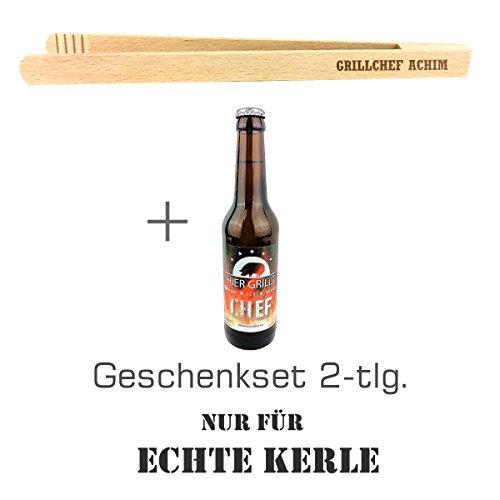 """Geschenkset 2-tlg. """"Nur für echte Kerle"""" mit Bier """"Hier grillt der Chef"""" und Grillzange mit Namens-Gravur """"Grillchef + Name"""" / Geburtstagsgeschenk / kreatives Geschenk / Männer / Grillen 3"""