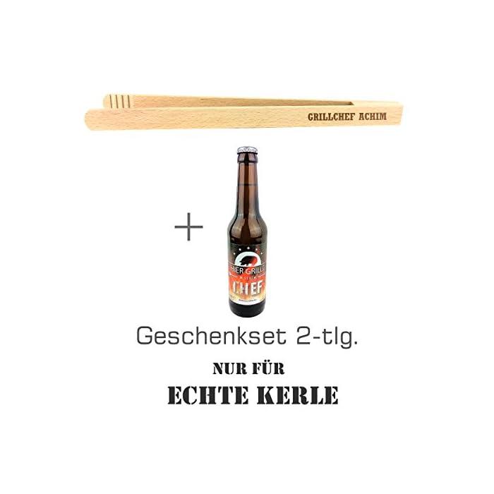 """Geschenkset 2-tlg. """"Nur für echte Kerle"""" mit Bier """"Hier grillt der Chef"""" und Grillzange mit Namens-Gravur """"Grillchef + Name"""" / Geburtstagsgeschenk / kreatives Geschenk / Männer / Grillen 1"""