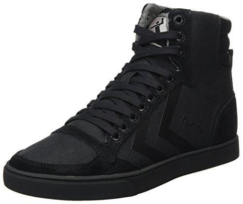 hummel Unisex-Erwachsene Slimmer Stadil Smooth Canvas Hohe Sneaker, Schwarz (Black), 43 EU