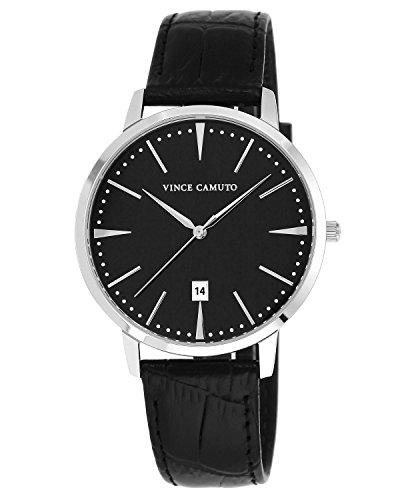 Vince Camuto VC/1073BKSV - Orologio da polso unisex, cinturino in pelle colore nero