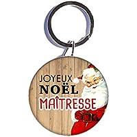 Joyeux Noel Maîtresse porte-clé 44mm idées cadeaux Maîtresse Ecole Noel