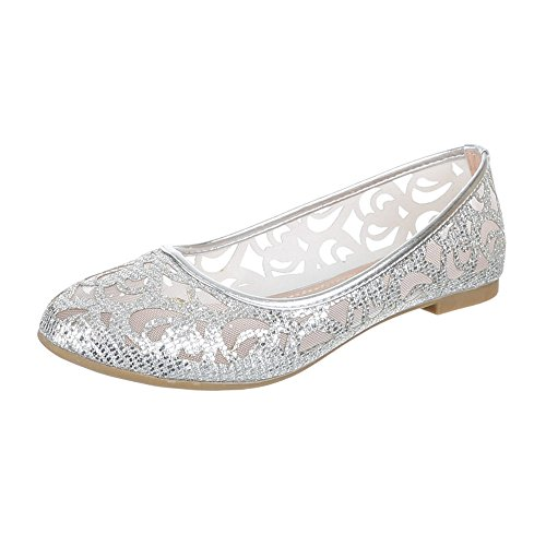 Damen Schuhe, M-51, BALLERINAS, LUFTIG LEICHTE, Synthetik , Silber