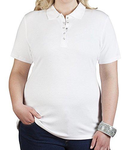 Damen-kurzarm-baumwolle Interlock (Poloshirt Jersey Damen Plus Size, XXL, Weiß)