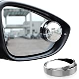 nuoshen 2Pcs Blind Spot Mirrors, Round Shape Wide Angle Car Wing Mirror 360°Rotatable Waterproof Convex Blind Spot Stick On Side Mirror(Silver)