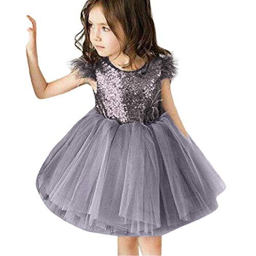 Kind Baby Mädchen Pelz Ärmel Pailletten Kleid Kleidung Tutu Sommerkleid Casual Kleider Malloom, (12M-4T) Maomao Flying Sleeve Pailletten Mesh Tutu Kleid Rock