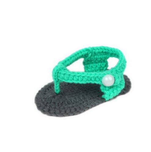 Bigood 0-6 Baby Krabbelschuhe Gestrickte Schuhe flauschige Baby-Unisex Länge 11 cm Schleife Weis Flip Flops Grün X