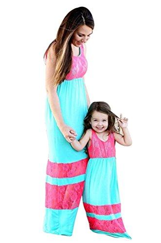 Tomsent Mutter und Tochter Ärmelloses Hohe Taille Strandkleid Gedruckt Spleiß Boho Partykleid Maxikleid Familie Kleid Blau 130 (Mädchen) (Kleidung Renaissance)