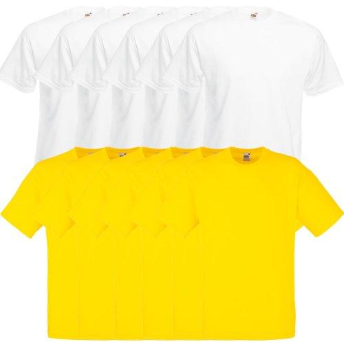 Fruit of the Loom Original Valueweight T Rundhals T-Shirt F140 3er 6er 9er 12er Pack 6x white 6x yellow