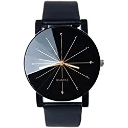 HARRYSTORE 1PC Men Fashion Charm Watch Luxury Leather Quartz Dial Clock Wrist Watch Round Case