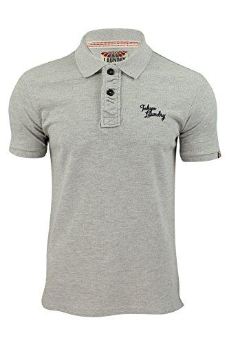 Tokyo Laundry Herren Polo T-shirt 'Sophomore' Kurzärmelig Brust Logo Grau Marl
