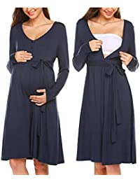 ADOME Frauen Pflege/Geburt/Krankenhaus Nachthemd Kurzarm Nachthemd Umstandsnachthemd mit Knopf Stillnachthemd für Schwangere und Stillzeit