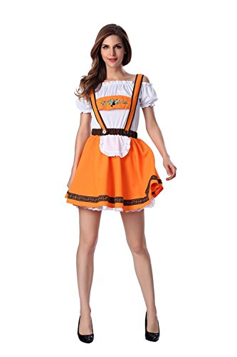 Frauen Halloween Cosplay Spiel Outfits Oktoberfest Uniform innerhalb Temptation Hollow Short Rock , Orange , xl