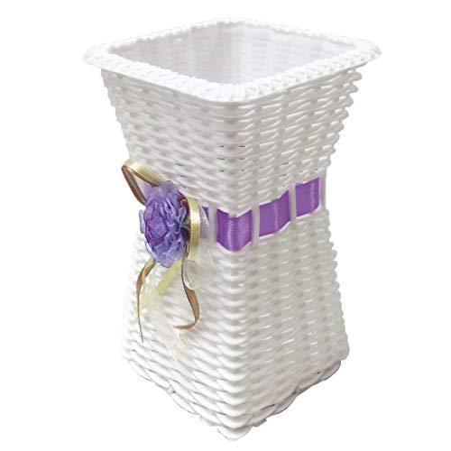 B Baosity Rattan Blumentopf Pflanztopf Bodenvase Vase Dekovase Dekoration - Lila, wie beschrieben
