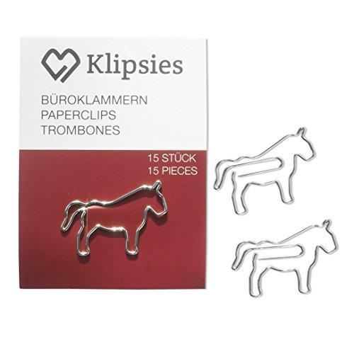 KLIPSIES Pferd (Design wählbar) 15 Deko Büroklammern Motiv Heftklammern 1x15 Stück Silber