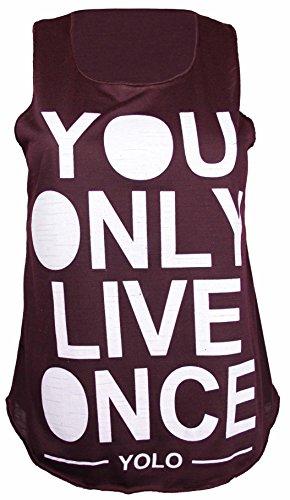 Femmes Yolo You Only Live Once imprimé Femmes Sans Manches Encolure Ronde Extensible T-Shirt Débardeur Prune