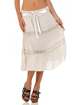 malito falda con cinturón de Satén verano tramo bordado 1460 Mujer Talla Única