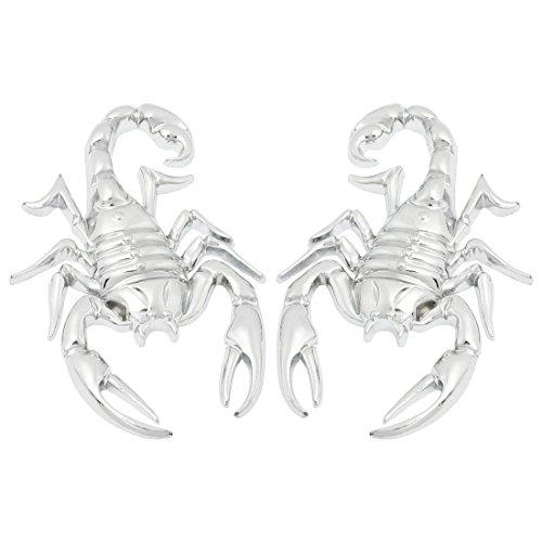 Autoaufkleber - SODIAL(R) 2 Stuecke Skorpion Shape 3D-Metall-Autoaufkleber Silber