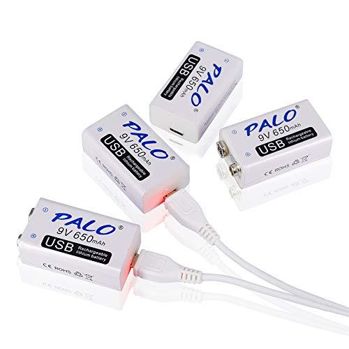 PALO - Confezione da 4 batterie al litio ricaricabili da 9 V 650 mAh, ricarica USB, protezione da sovraccarico, con cavo USB 2 in 1, 2 pezzi