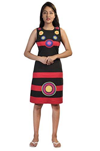 Damen Bunte Sommer ärmelloses Kleid mit Patch-Entwurf Mehrfarbig