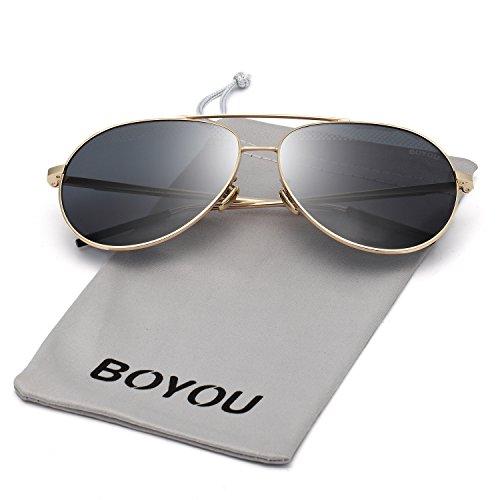 BOYOU Polarisierte Classic Aviator Spiegellinse Sonnenbrille mit UV400 Schutz