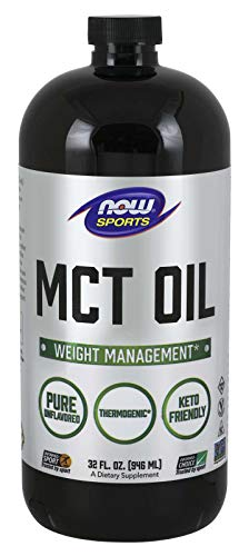 Now Foods MCT Oil Liquid (Soy Free, Non-GMO, Gluten Free, Corn Free, Dairy Free, Egg Free, Hexane Free, Keto Friendly, Kosher) - 946ml (Unflavoured)
