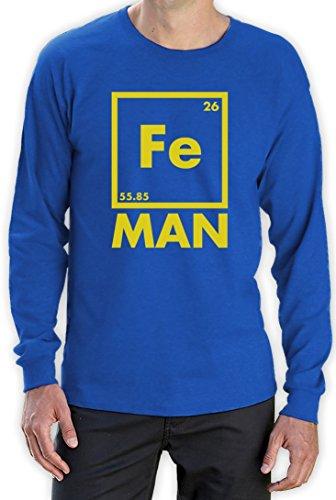 Iron Fe Man - Lustiges Männergeschenk Langarm T-Shirt Blau