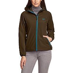 Ultrasport Estelle Outdoor Softshell Jacket Chaqueta con Capucha, Mujer, Gris/Turquesa, S