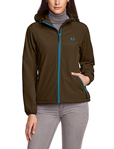 Ultrasport Damen-Funktions-Outdoorjacke Softshell Estelle mit Ultraflow 5.000, taupe/türkis, L