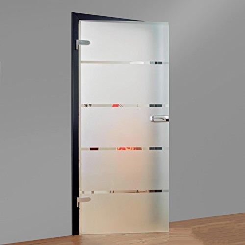 inova Türblatt Glas-Drehtür DIN links DIN rechts 834x1972x8 Studio-Bohrung Blockstreifen satiniert Echtglas Glas-Tür Zimmertür
