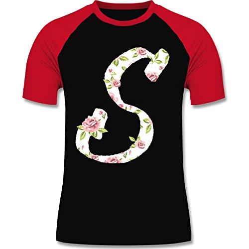 Anfangsbuchstaben - S Rosen - zweifarbiges Baseballshirt für Männer Schwarz/Rot
