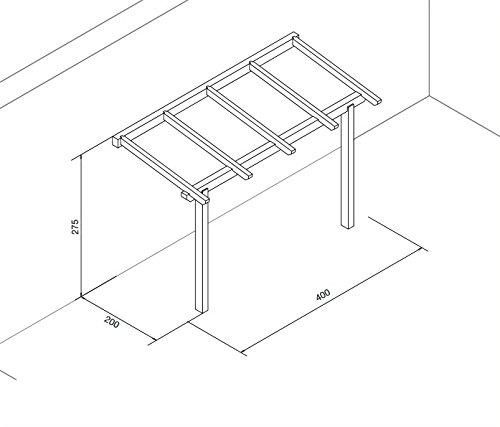 Pergola addossata 4x2 in legno lamellare impregnato in autoclave ...