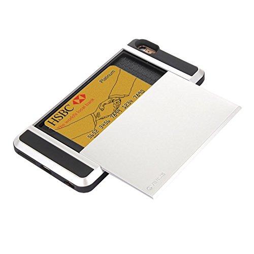 BING Für IPhone 6 Plus / 6S Plus Blade PC + TPU Kombi-Gehäuse mit Kartensteckplatz BING ( Color : Green ) Silver