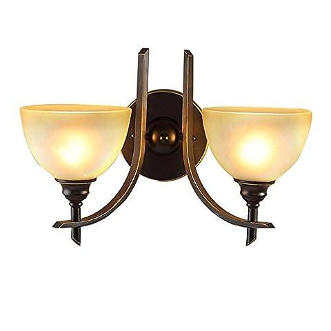Applique Retro Retro Simplicity Iron for Living Room Chambre à coucher Lampadaire Étude Salle , Double tête Lampe de mur