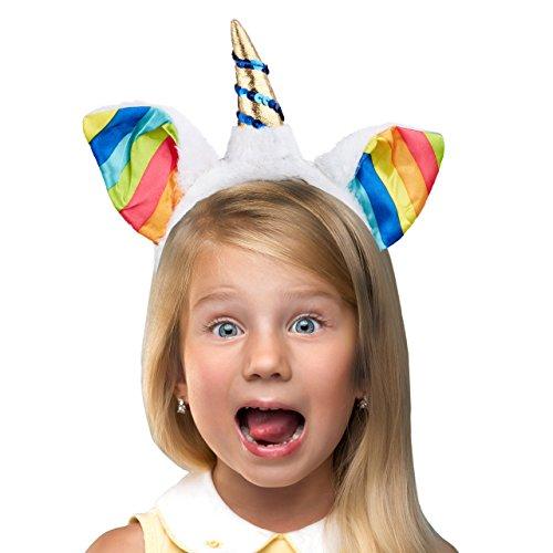 Relaxdays Haarreif Einhorn, Kopfschmuck Kinder mit Ohren & Horn, Regenbogen, Glitzer, HxBxT: 23 x 22 x 2,5 cm, weiß/bunt