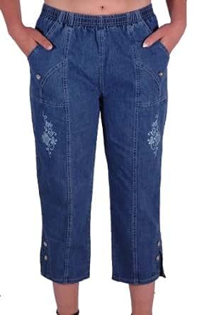 EyeCatch - Ladies Royelle Capri Crop Pants Elasticated ...