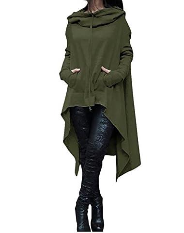 ASSKDAN Damen Casual Langarm Unregelmäßige Pullover mit Kapuzen Sweatshirt Tunika Bluse Oversize Minikleid (M, Armee-Grün)