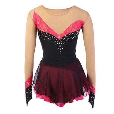 Heart&M Eiskunstlaufkleider Damen Langärmelige Eislaufen Kundenspezifische Eiskunstlauf-Kleid Elastan Schwarz EiskunstlaufkleidungInnen Outdoor , l (Kundenspezifische Tanz Kostüme)
