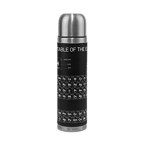 Alaza Chemie Periodensystem doppelwandig Wasser Flasche Vakuum Isoliert Thermoskanne echtem Leder verpackt 17Oz Medium schwarz Macht Der Wissenschaft Chemie