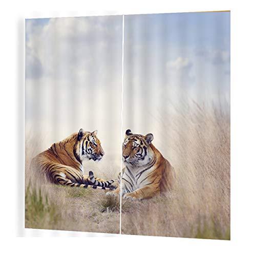 LoveOlvido Tiger Prints Vorhänge Raum 3D Vorhang Fenster BJQ-1280 (6) 140 * 100cm Trendy Wohnzimmer Schlafzimmer Blackout - Multicolor