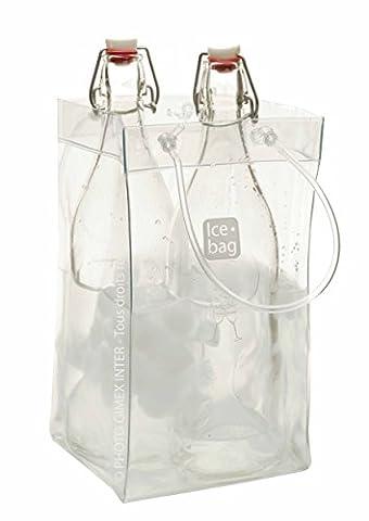 Gimex 17411Basic King Ice Bag Wine Cooler 2Bottles or 1Magnum Clear 33x 2x 18cm