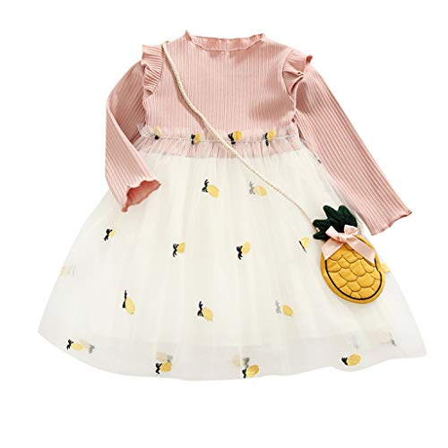 DIASTR Babykleidung Kleinkind Mädchen Kleid Brautkleider Tüll Prinzessin Party Kleider Langarm Obst Tasche Prinzessin Kleid Outfit Kleidung Pink, Gelb(12m-4y) Jahr 12 Formale Kleider
