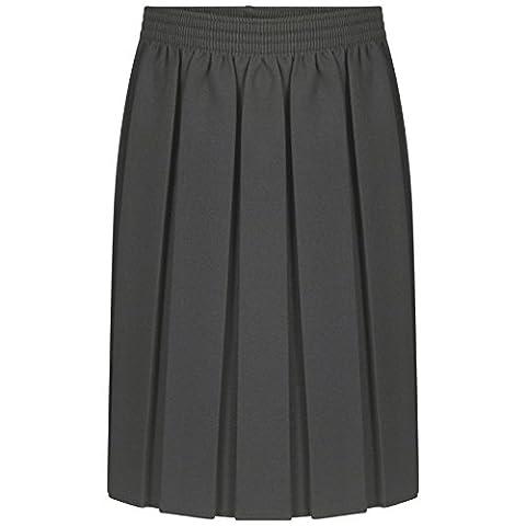 New Girls School Uniform Box Pleat Skirt 2-13 Years Black Grey Navy (13 Years, Grey)
