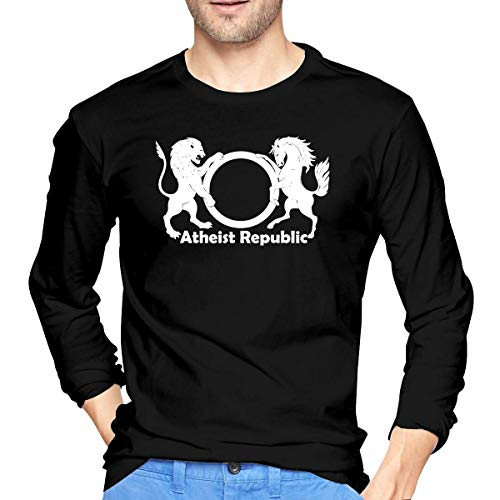 Atheist Republic Symbol Langärmeliges Männer-T-Shirt Lässiges Baumwoll-T-Shirt XL