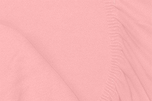 Double Jersey - Spannbettlaken 100% Baumwolle Jersey-Stretch bettlaken, Ultra Weich und Bügelfrei mit bis zu 30cm Stehghöhe, 160x200x30 Rosa - 7