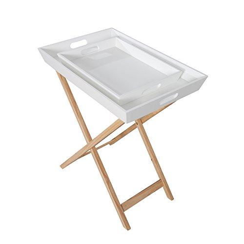 Invicta Interior Design Retro Tablett Tisch SCANDINAVIA weiß Eiche mit 2 Tabletts klappbar Beistelltisch