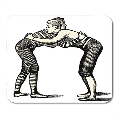 HOTNING Gaming Mauspad Wrestlers Vintage Engraved Dictionnaire Encyclopedique Universel by Jules Trousset 1891 11.8