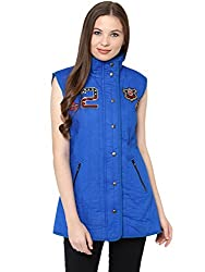 The Vanca Womens Front Button Down Solid Blue Quilted Jacket With A High Neck And Patch Motifs On The Front