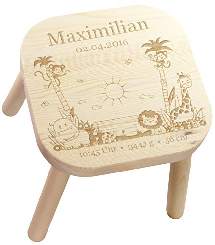 LAUBLUST Kinderhocker Dschungel Motiv - Personalisiert mit Individueller Wunsch-Gravur - Holz, Sitz-Höhe ca. 28 cm -