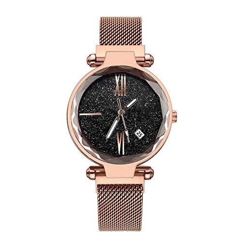 VIMOER Damen Sternenhimmel Uhr Wasserdichte flackernde Quarzuhr mit Kalender, Magnetband Armbanduhr Edelstahl Armband, 1#